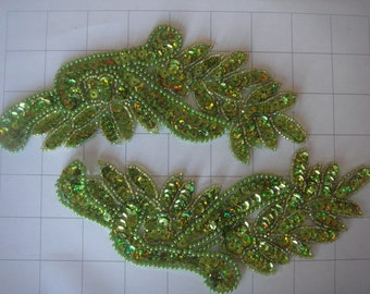 """7.5"""" by 3.25"""" Lime Green Pair of Beaded and Sequins Applique"""