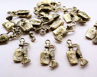 Perfume Charms Gold Charms Antique Gold Bracelet Charms Fancy Jewelry Supplies Destash Perfume Packaging