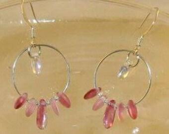 pink lentil bead earrings