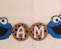 Sesame Street Cookie Monster Milk and Cookie  High Chair Banner