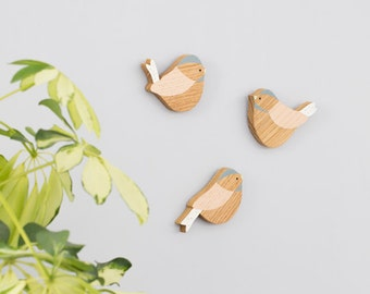 Wooden Wall Birds -  Set of three Coaltit Wall Birds