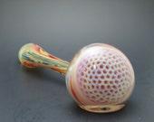 "Glass Pipe -  Purple Honeycomb Churchwarden Silver Fumed 6.50"""