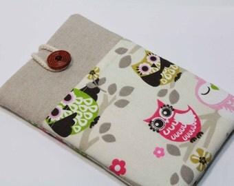 Ipad Mini 3 Case iPad Mini 3 Cover iPad Mini Retina Sleeve iPad mini 2 Case Foam Padded Handmade Ipad mini Cover with pocket- Pink Green Owl