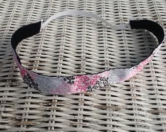 Pink, Black, Grey Swirl Headband - Girls Sports Headband