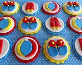 12 Fondant edible cupcake toppers - Pool party, beach party, summer birthday party, popsicles, flip flop, flowers, ocean