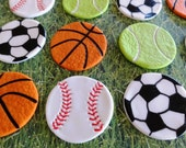 12 Fondant sport cupcake toppers,basketballs/soccer balls/baseballs/tennis balls/football, golf, beachball, sport toppers, sport cupcake