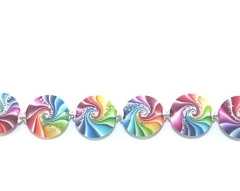 Swirl lentil beads with silver, Polymer Clay beads in rainbow colors, 6 colorful  focal beads with tiny silver dots, Craft Supplies
