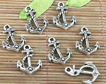 50pcs Tibetan silver color 18x13mm anchor charms EF0998