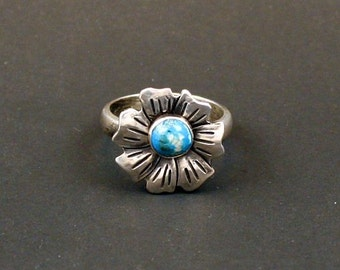 Flower Turquoise Artisan Sterling Silver Jewelry Handmade  Metalwork Ring