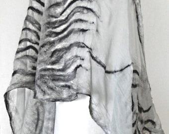 nuno felted silk scarf shawl THE SHADOWS handmade art to wear, silk wool scarf, eco fashion by Kantorysinska