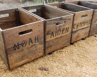 Personalized Crate from Recycled Pallet/ Wooden Crate/ Storage