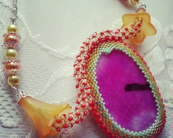 """Spring""""  pink agate stone necklace"""