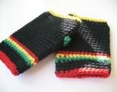 Rastafarian Wrist warmers, fingerless gloves. wristers. Crocheted gloves