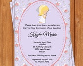 Shabby Chic Girl Invitation | First Communion | Printable Editable Digital PDF File | Instant Download | FCI109DIY
