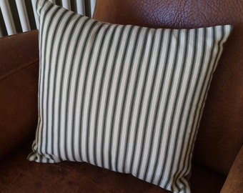 """CUSHION 16""""x16"""" Olive green and cream striped"""