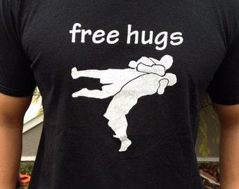 Black Free hugs t shirt mma wrestling jiu jitsu suplex