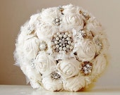 Fabric Flower Bouquet,  Vintage Style Wedding Bouquet, Handmade Fabric Bridal Bouquet, Brooch  Wedding Bouquet
