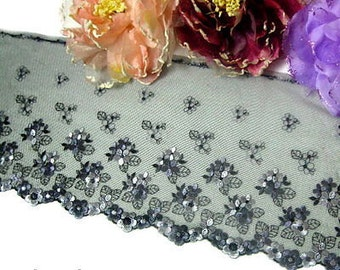 """DN520- 7 """" Black Embroidered Tulle Mesh Lace Trim by Yard"""