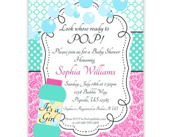 Bubble Invitation - Turquoise Quatrefoil, Pink Damask, Its A Girl Blowing Bubbles Personalized Baby Shower Invite - a Digital Printable File
