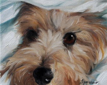 """PRINT Cairn Terrier Dog Puppy Art Oil Painting Home Decor Gift / Mary Sparrow of Hanging the Moon Studio """"Under Cover"""""""