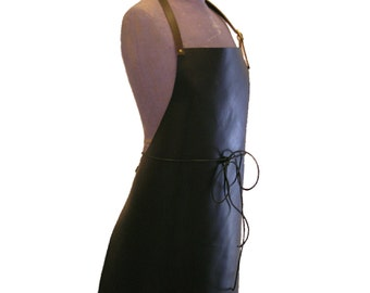 Full leather apron (100% calf hide).  Adjustable neck strap, and leather waist ties