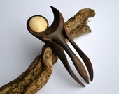 Exclusiv sculptured Hairfork, handcaved from Walnut Burl and Maple