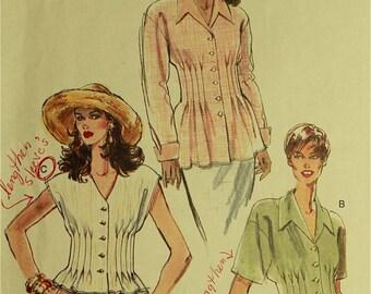 """Blouse, Front & Back Tucks - 1990's - Vogue 9271 Uncut  Sizes  6-8-10  Bust  30.5-31.5-32.5"""""""