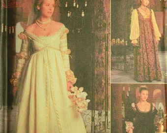 """Dress, Sleeves & Hats Renaissance Costume by Conso -  Simplicity Pattern 8735 Uncut Sizes 10-12-14 Bust 32.5-34-36"""""""