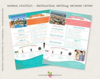 Modern Starfish - Beach Wedding Destination Wedding - Welcome Letter - COLORS CHANGEABLE