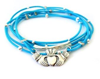 Irish Claddagh Sterling Silver Bracelet, Blue Bracelet Set, Sterling Silver Claddagh Charm, Silver Bracelet, Irish Jewelry