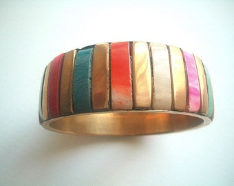 Wide Bone & Brass Bangle Multicolor