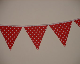 Red & White Fabric Bunting - Polka Dots