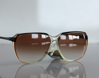 Vintage Polaroid Crystal, Black Brown Frame, Non Polarizing  CR-39 Lenses LOOKERS 8535. Made in Italy