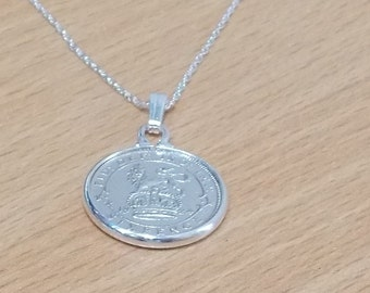 1924 93rd Birthday / Anniversary sixpence coin pendant plus 18inch SS chain gift