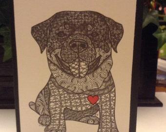 Zentangle Inspired Rottweiler dog  Note Card, Rottweiler dog Print,  Love Card