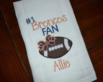 Personalized Number One Football Fan burp cloth- any team available