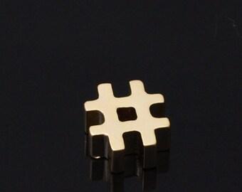HUGE SALE /  Matt Gold Plated, mini Pendant # hashtag beads    / 5 pcs