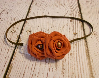 Chiffon Rolled Rose Headband- Pumpkin Spice- Newborn to Adult- Photo Prop