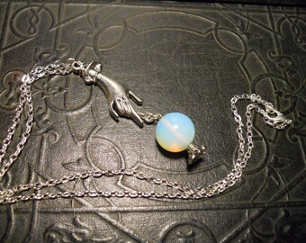 Glass Opalite Crystal Ball with Gypsy Hand Necklace