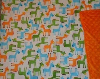 Horse/Pony Cotton / Minky Baby/Toddler Blanket
