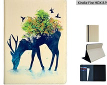 """Kindle Fire HDX 8.9 (2013 3rd gen model) case from Create&Case """"Watering"""" stylish, unique colourful Kindle Fire case nature animals"""