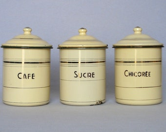 Vintage French Enamelware Canister Trio, for those who like their hot drinks!