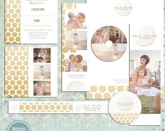 Golden Premade Photography Marketing Set Templates - INSTANT DOWNLOAD