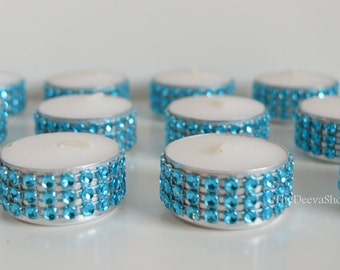 Turquoise Bling  Tealight Candles - Teal  Bling Candles -  Wedding Bridal Shower or Party Tealights 50 Pc Lot