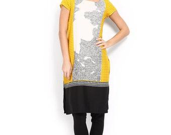 Women Off-White & Yellow Printed Kurta