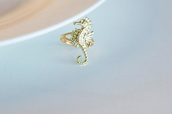 seahorse ring gold plated vintage style gold by