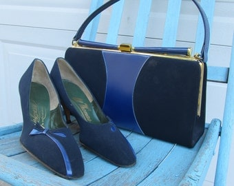 1970s matching shoes and purse set