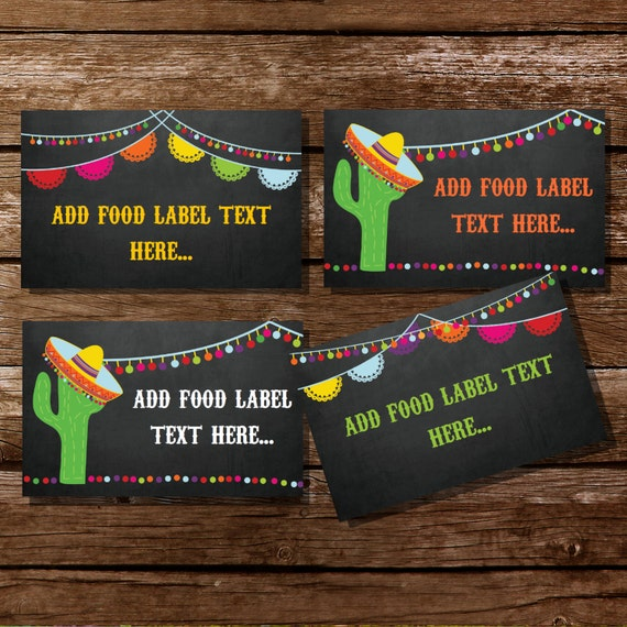 Mexican Fiesta Tent Cards Food Labels Buffet Cards Food