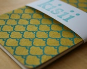 Gold Turquoise Chiyogami paper journal // Moleskine Cahier Journal // gold turquoise // paper stationary // handmade