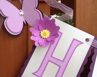 Purple & Silver Butterfly Birthday Banner